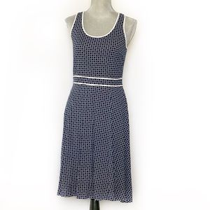 Ann Taylor Blue White Fit & Flare Dress SZ S